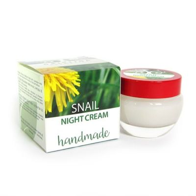 Нощен крем за лице с Охлювена слуз - ръчно приготвен - изглажда, подхранва и хидратира, 50 ml