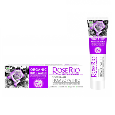 Хомеопатична паста за зъби Rose Rio Homeopathic, 65 ml - със 100% био - органична Розова вода