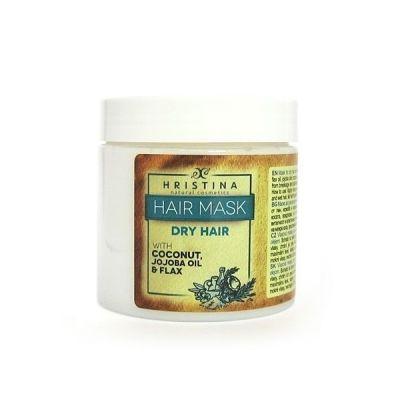 Маска за коса Козметика Христина, 200 ml - за суха коса, с Лен, Кокосово масло и Жожоба