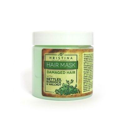 Маска за коса Козметика Христина, 200 ml - за изтощена коса, с Коприва, Орех и Репей